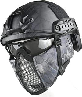 Jffcestore MH Updated Version Fast Tactical Helmet Combined with Foldable Half Face Mesh Mask and Goggles for CS Game Set