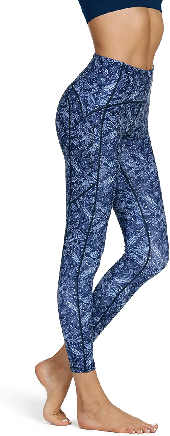 Workout Compression Anti Cellulite Leggings NICEWIN Womens High Waisted Pattern Yoga Pants with Pockets