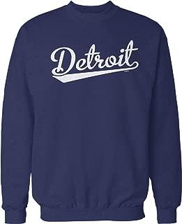 NOFO Clothing Co Detroit Script Baseball Font Crew Neck Sweatshirt