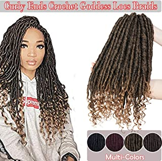 "6Packs 16"" Crochet Braids Hair Extensions Goddess Faux Locs Hair 24 Strands/Pack Kanekalon Braiding Hair Curly Ends Wavy Synthetic Dreadlock Kanekalon Box Braiding Hair Black mix Coffee Brown"
