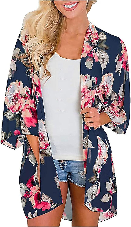 XINXX Women's Flowy Summer Chiffon Floral Print Kimono Cardigans Tops Boho Beach Cover Ups Casual Loose Shirts