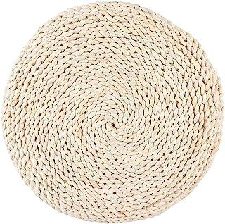 Zerodis - Cojín de meditación tejido de paja redondo para silla de tatami, cojín de yoga, cojín de punto para el suelo, jardín, comedor, decoración del hogar al aire libre