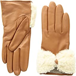 Tech Leather Gloves with Sheepskin Bow