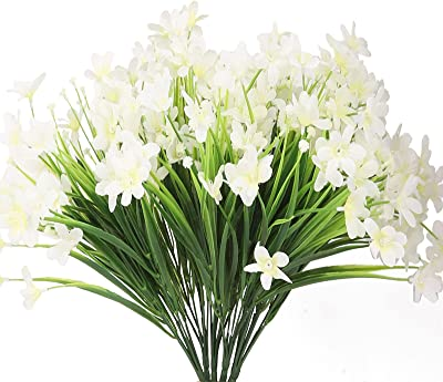 Artificial Flowers for Decoration 18 Bundles Fake Flowers White Silk Flowers with Stems Outdoor Artificial Plants & Flowers Faux Flowers Bulk Daffodil Farmhouse Fake Plants for Home Decor Indoor