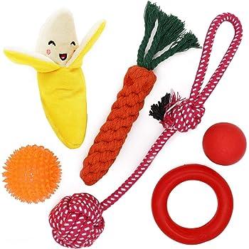 子犬おもちゃ 犬のおもちゃ 犬噛むおもちゃ 噛むと音が出るボール形 ロープなど6点セット ストレス発散 歯磨き 小型犬