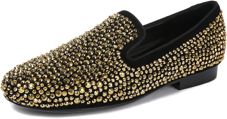 F.N.JACK Men's Fashion shoes Flat gold Crystals Studded Suede Slip-on Loafer