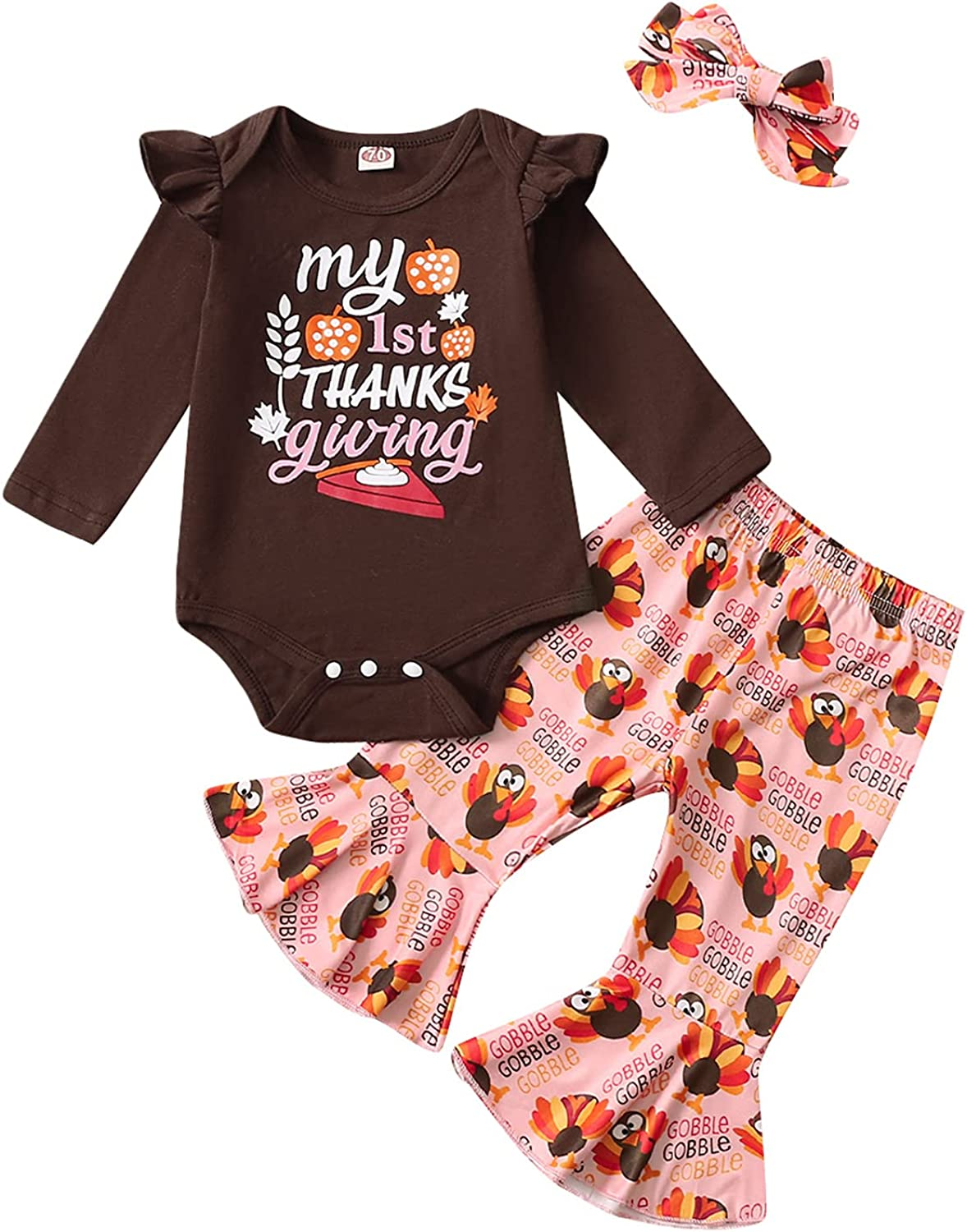 Baby Girl My First Thanksgiving Outfit Baby Thanksgiving Clothes Girl Turkey Outfit