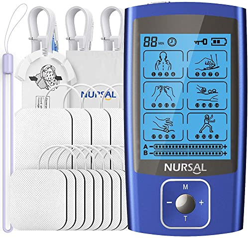 NURSAL 24 Modes Dual Channel TENS EMS Unit Muscle Stimulator for Pain Relief Therapy, Rechargeable TENS Machine Pulse Massager with 12 Pcs Electrode Pads/Continuous Stable Mode/Memory Function
