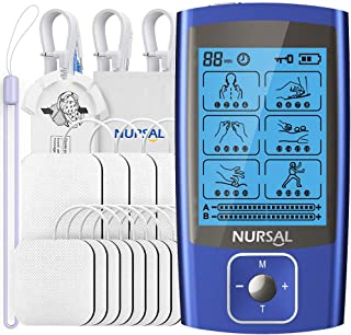 NURSAL 24 Modes Dual Channel TENS EMS Unit Muscle Stimulator for Pain Relief Therapy, Rechargeable TENS Machine Pulse Mass...