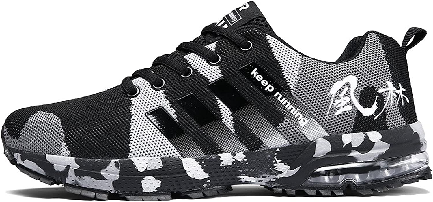 Ahico Mens Tennis shoes - Air Cushion Running shoes Men Sneakers Lightweight Walking Breathable Men's Athletic Cross Training Sport Black Size 8.5