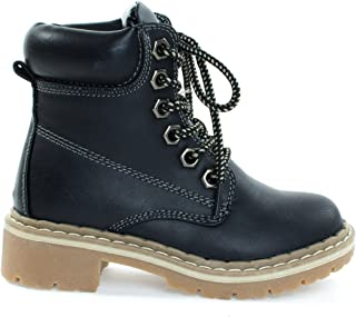 31a17679f6d4 Children Fashion Work Bootie Lace Up Lug Threaded Sole