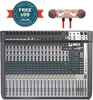 Soundcraft Signature 22 MTK 22-Input Multi-Track Mixer with Effects includes Free Wireless Earbuds - Stereo Bluetooth In-ear Earphones