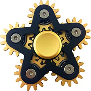 voda 6 Gear Metal Fidget Spinner,Luxury 6 gear linkage spinner toy,High speed EDC fidget toy for stress relief, (Black)