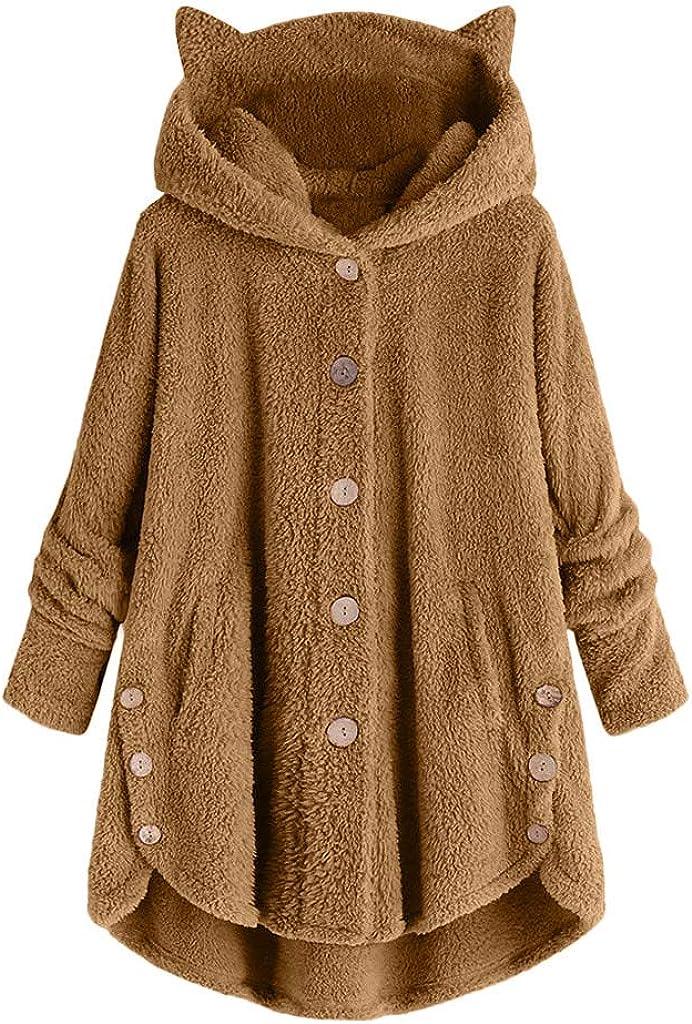 Fleece Jacket Women Faux Fur Coats Pullover Hoodie Fleece Button Hooded Sweatshirt Cute Cat Ear Pocket Oversized Outwear