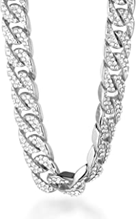 ● Bling ● Gold Chain for Men 18k Real Gold/Platinum Plated Diamond Big Cuban Chain Necklace 18