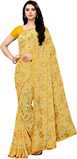 KANCHNAR Women's Printed Chiffon Saree with Unstitched Blouse (962S144;Yellow;Floral/Pastel with Border Saree)