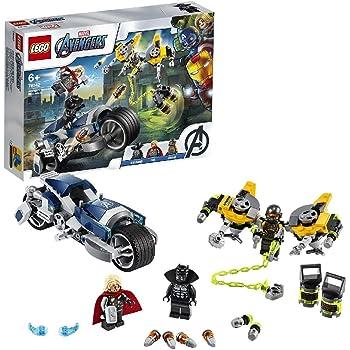 LEGO Marvel L'attaque du Speeder Bike des Avengers, Set de jeu, Figurines de Black Panther et de Thor, 149 pièces, 76142