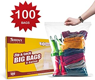 Shiny Select PRC [ 100 Count ] Extra Large Super Big Bags, Zip & Lock Jumbo Big Plastic Bags, 18