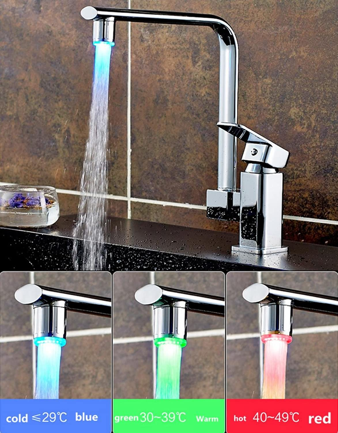LED Temperature Control Luminous Faucet 360 Degree redation Hot and Cold Water Kitchen Faucet