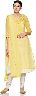 BIBA Women's Synthetic a line Salwar Suit Set