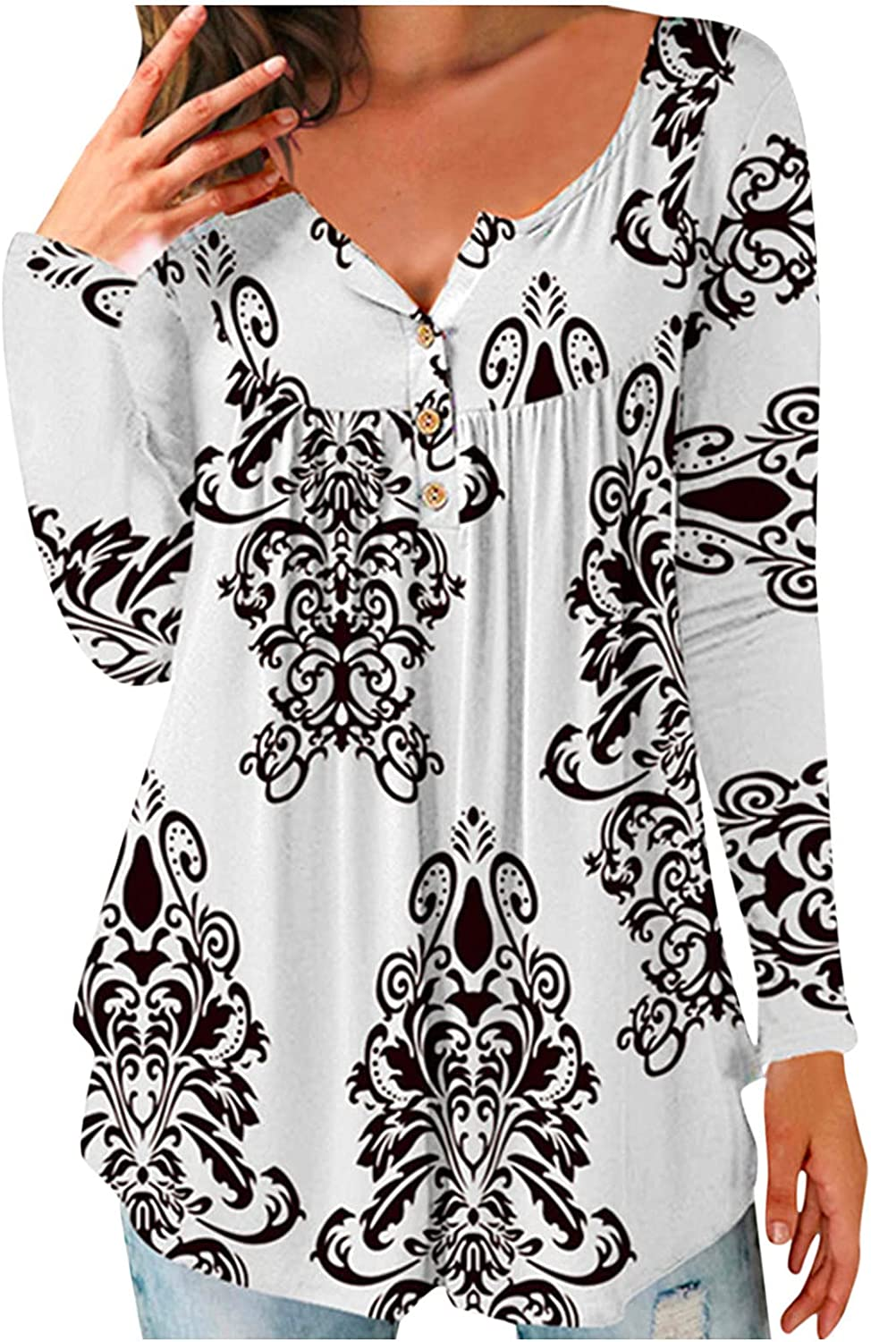 felwors Womens Tops Long Sleeve, Womens Tunics Button Up Henley V Neck Tunic Shirts Plus Size Pleated Long Sleeve Tops