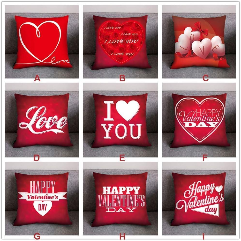 Giow Coussin de canapé en Polyester décoratif en Forme de Coeur Maison imprimée à la Maison de Mariage décoratif taie d'oreiller Throw taie d'oreiller (Couleur: E) F