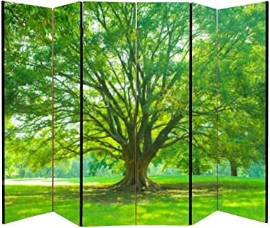 APED DECOR Wood Screen Room Divider Morning Park Folding Screen Canvas Privacy Partition Panels Dual-Sided Wall Divider Indoo