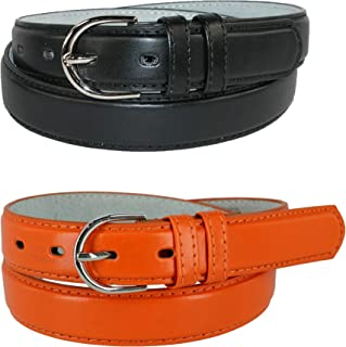 CTM Women's Leather 1 1/8 Inch Dress Belt (Pack of 2 Colors)