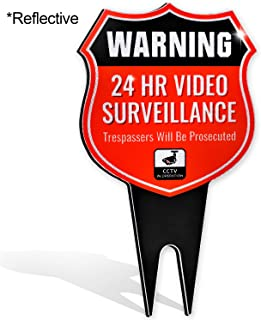 24 Hour Shield Video Security CCTV System in Operation Metal Yard Sign (Red Reflective)