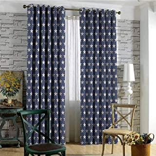 hengshu Star Shading Insulated Curtain Patriotic Star of The American Flag Festive Independence Themed Symbols of Freedom for Living Room or Bedroom W72 x L72 Inch Navy Blue Tan