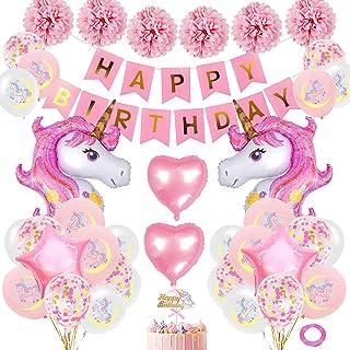 comprar comparacion SPECOOL Unicornio Decoración de cumpleaños para niña, Rosa Feliz cumpleaños Conjunto de pancartas Unicornio Papel de Alumi...