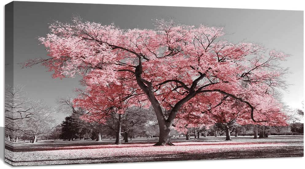 Visual Art Decor Black White Pink Tree Canvas Wall Art Prints Gallery Wrapped Premium Contemporary Art for Living Room Bedroom Ready to Hang