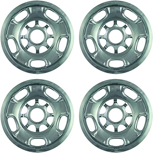 discount 17 inch Hubcap Wheel Skins for 2011-2015 Chevrolet Silverado-(Set of 4) Wheel Covers- discount Car Accessories online sale for 17inch Chrome Wheels- Auto Tire Replacement Exterior Cap Cover online