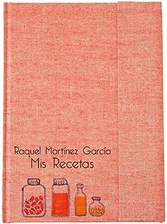 Recetario en blanco personalizado con tu nombre 15x21 | Libro de recetas de cocina para escribir tapa dura A5 | Índice y p...