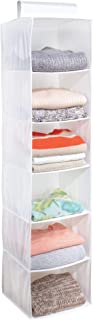 iDesign Fabric 6-Shelf Hanging Closet Storage Organizer for Clothing, Sweaters, Shoes, Accessories in Bedrooms, College Do...