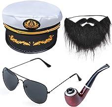 Beelittle Yacht Kapitän Hut Kostüm Zubehör Set einstellbar Boot Sailor Schiff Skipper Cap Aviator Sonnenbrille Tabakpfeife mit Anker Design-Zubehör G