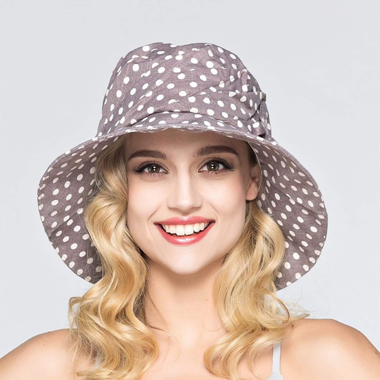 SUNNY Women's Visor Polka Dot Design Spring and Summer Sun Hat (color   Dark Grey)