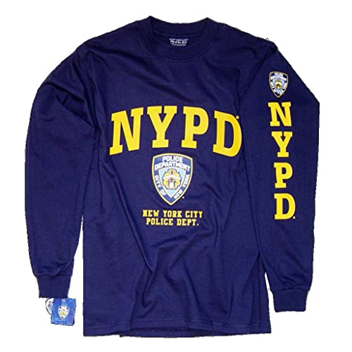 c2062b14d NYPD T-Shirt Long Sleeve Screen Printed Shield Athletic Tee