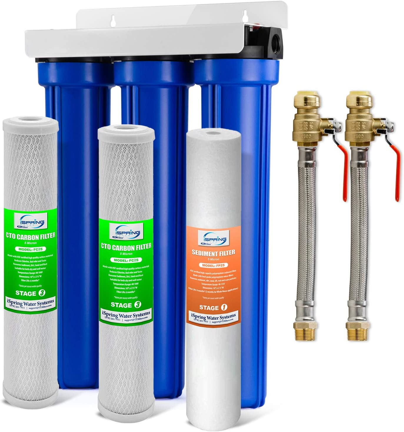 iSpring Max 74% OFF WCB32O+AHPF12MNPT12X2 3-Stage Whole House Safety and trust Filtrati Water
