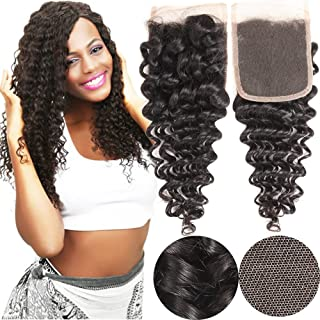 VRHOT 12 inch Lace Closure Deep Wave 4x4'' Free Part Lace Closure Brazilian Virgin Remy Human Hair 100% Unprocessed Natural Color Soft Silky Hair Products for Black Women 8''-20'' (12 inch)