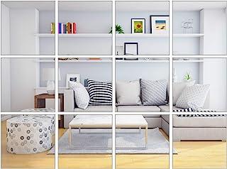 Elcoho 30 Pieces Flexible Mirror Sheets Self-Adhesive Plastic Mirror Tiles Non-Glass..