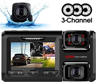 Máy thâu hình đặt trên xe ô tô – Pruveeo D40 Three and Dual Channel Dash Cam, Front Inside and Rear with Backup Camera, Dash Camera for Cars, 3.0 inch LCD, Night Vision, Supercapacitor, WiFi, G-Sensor, Loop Recording