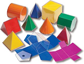 Learning Advantage Folding 3D GeoFigures - Set of 11 Multicolored Shapes - Includes 2D Nets and Activity Guide - Early Math Manipulative and Geometry for Kids