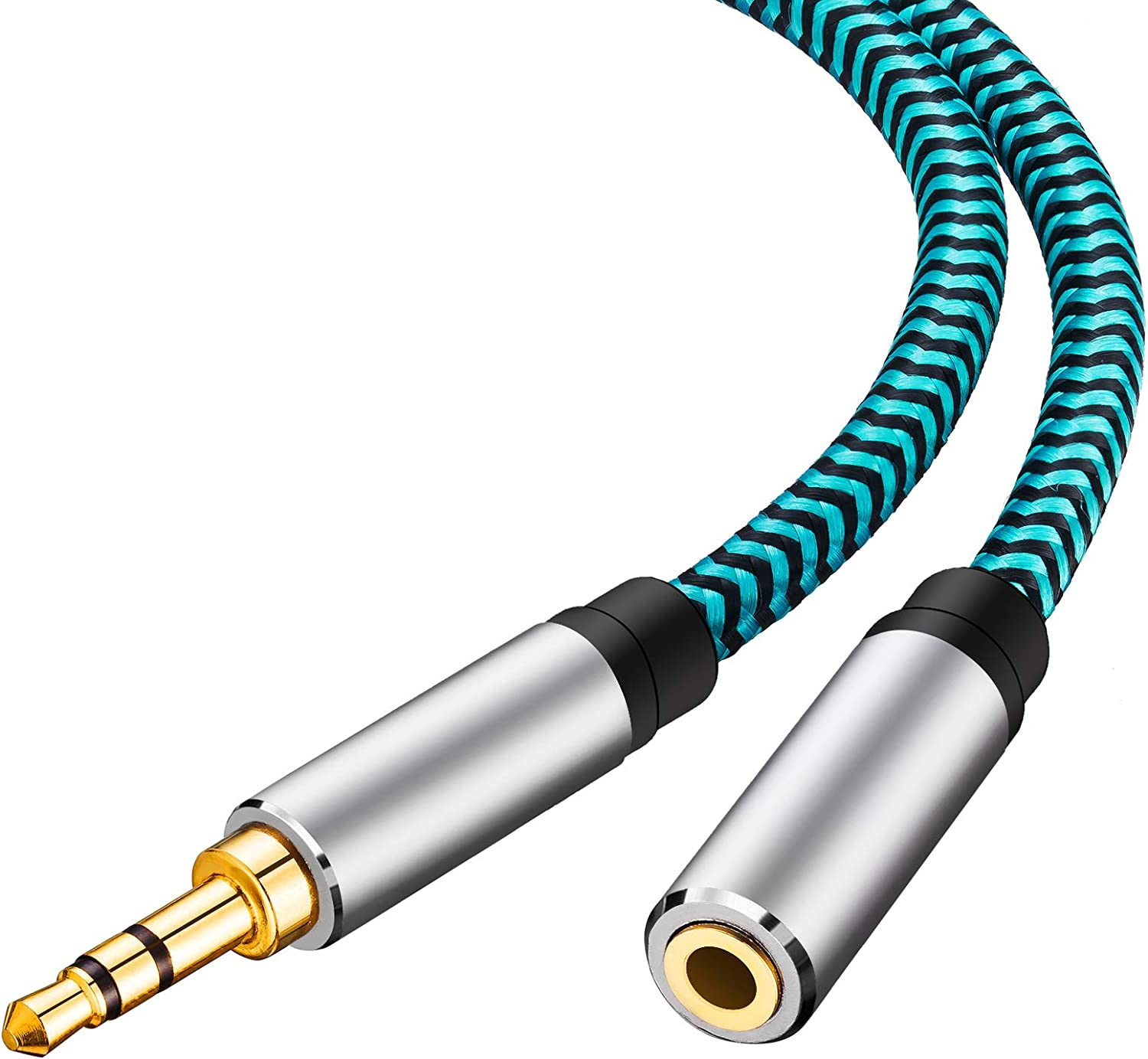 Aux Cable 50ft,Hftywy 3.5mm Male to Male Stereo Aux Cord 3.5mm Auxiliary Audio Cable Nylon Braided Male to Male Stereo Audio Cables Compatible Car//Home Stereos,Speaker,iPhone iPod iPad,Headphones