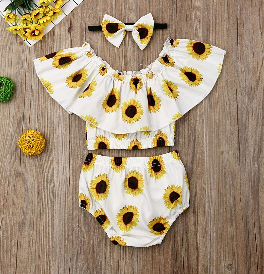 Toddler Baby Girls Sunflower Summer Clothes 3PCS Ruffle Crop Top and Matching Shorts and Headband Outfit Set