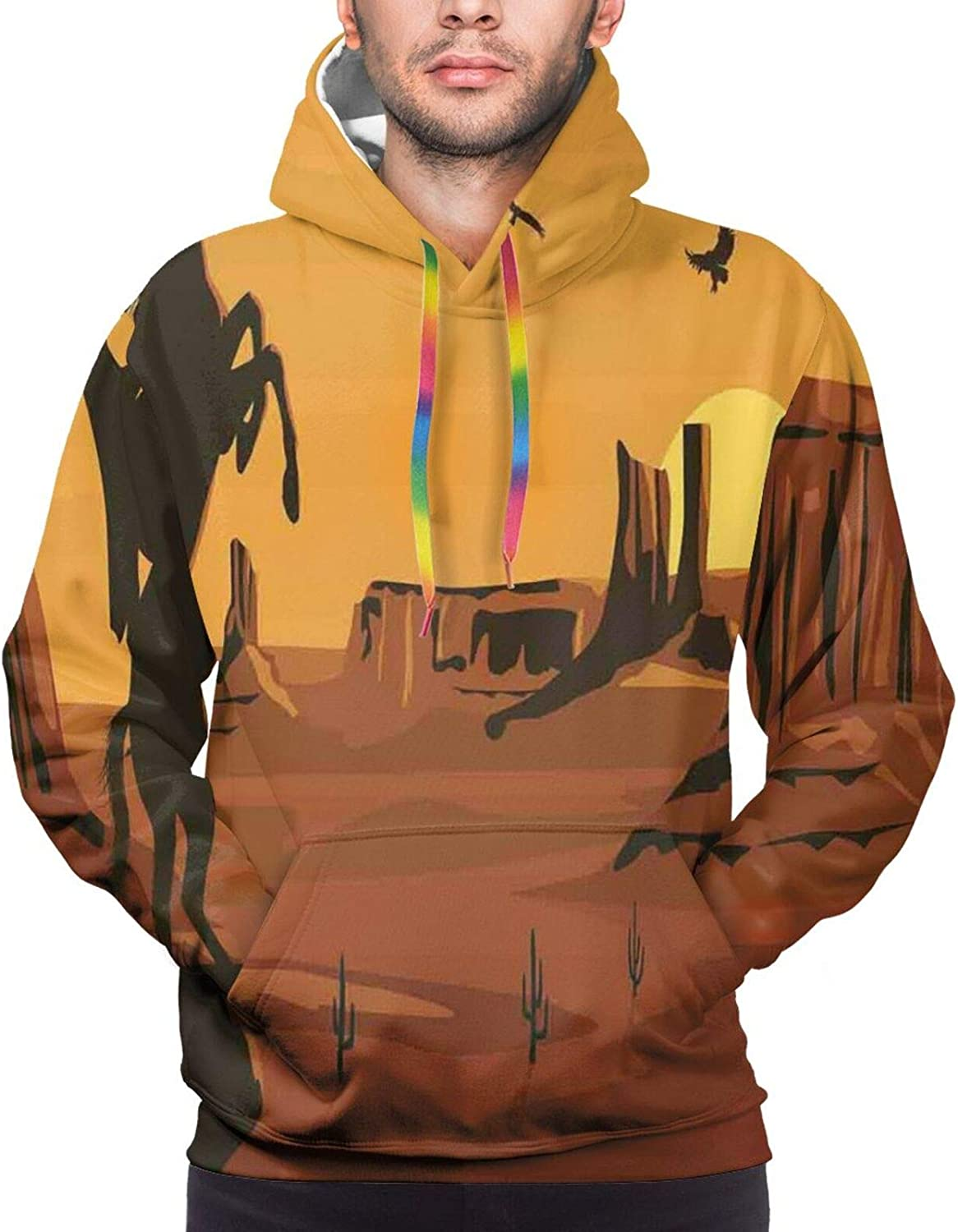 Men's Hoodies Sweatshirts,Cartoon Illustration of View of The Port with The Birds Lighthouse at The Sunset