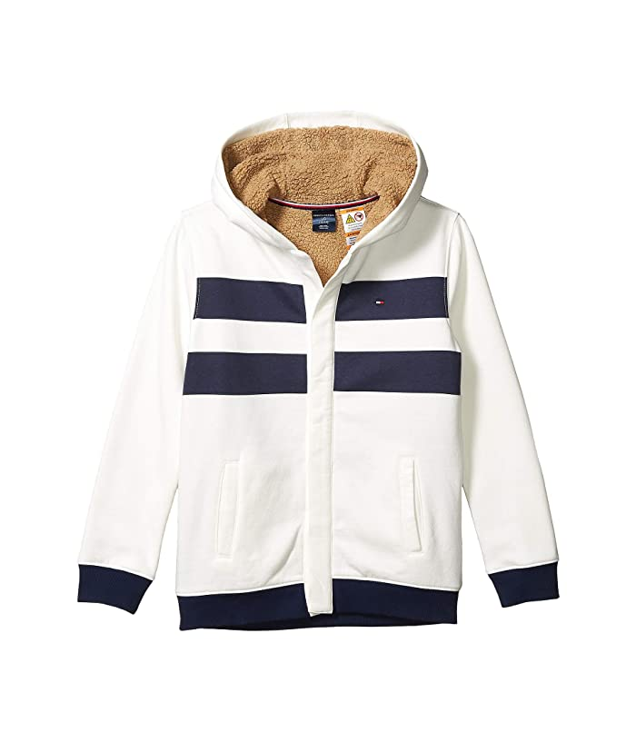 Tommy Hilfiger Adaptive  Faux Fur Lined Hoodie (Little Kids/Big Kids) (Snow White) Mens Clothing