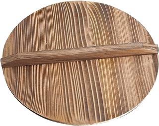 Wood Wooden Wok lid, 11.81/12.6/14.17/14.57inch Cedarwood Wok Lid, Wood Pan Cover, Wood Wok Lid for Cast Iron Wok with Lar...