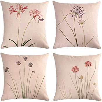 TongXi Green Slender Leaf Floral Pattern Decorative Soft Throw Pillow Case Cushion Covers 18x18 inches Pack of 4