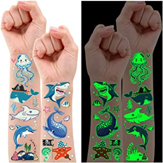 Partywind 130 Styles Luminous Shark Temporary Tattoos for Kids, Glow Shark Birthday Decorations Party Favors Supplies for ...
